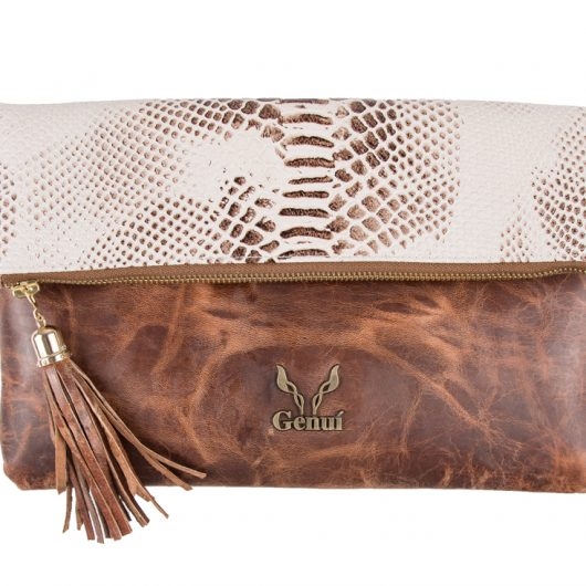 PULL UP IN TAN-WHITE PYTHON CLUTCH