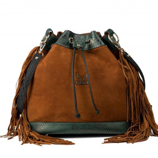 3 IN 1 BUCKET BAG IN TAN SUEDE WITH FRINGES