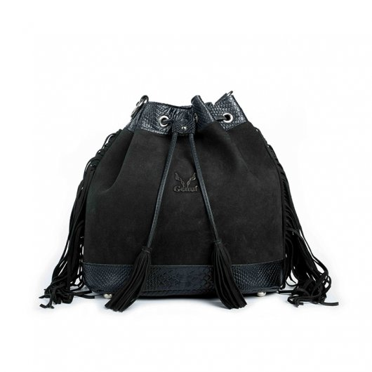 3 IN 1 BUCKET BAG IN BLACK SUEDE WITH FRINGES