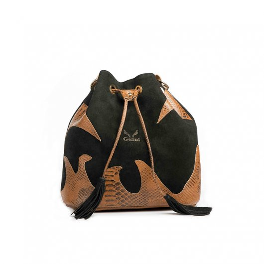 3 IN 1 BUCKET BAG IN BLACK SUEDE WITH DECORATIVE FLAMES