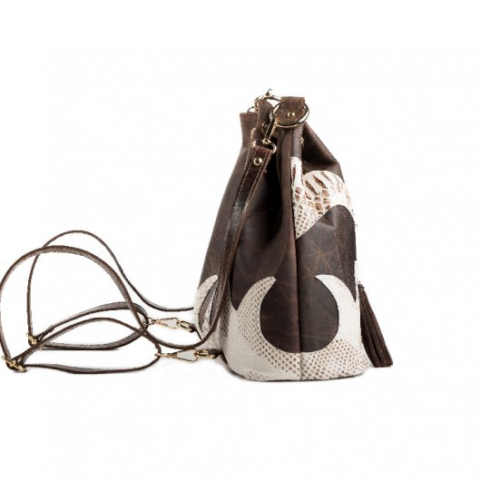3 IN 1 BUCKET BAG - BROWN PULL UP WITH DECORATIVE FLAMES