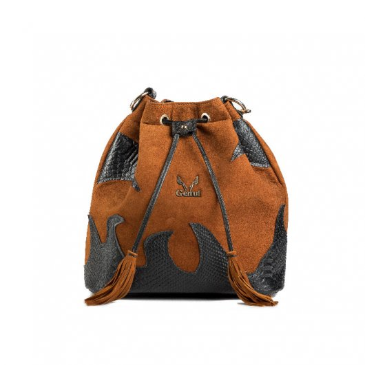 3 IN 1 SUEDE BUCKET BAG IN TAN WITH DECORATIVE FLAMES