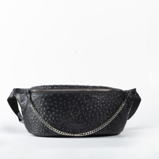 OSTRICH EFFECT BELT BAG IN BLACK