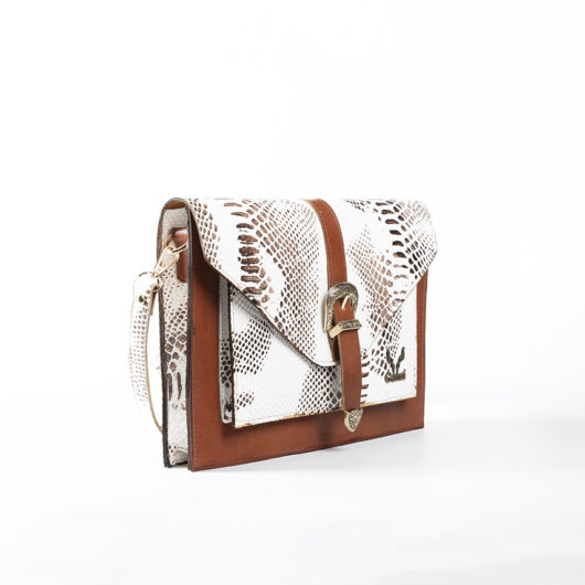 VINTAGE CLUTCH BAG IN WHITE-TAN