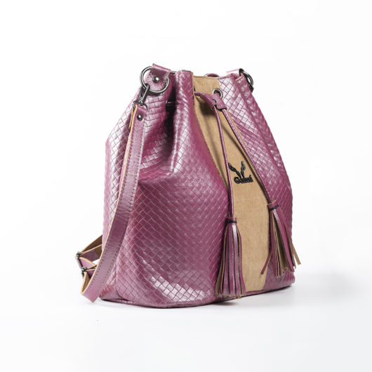 3 IN 1 STRAW EFFECT BUCKET BAG IN PINK