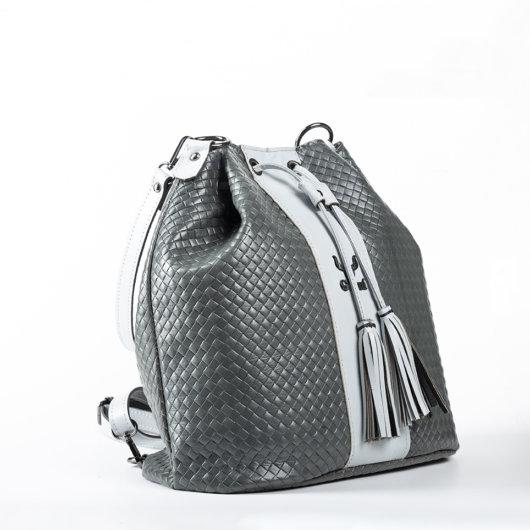 3 IN 1 STRAW EFFECT BUCKET BAG IN GREY