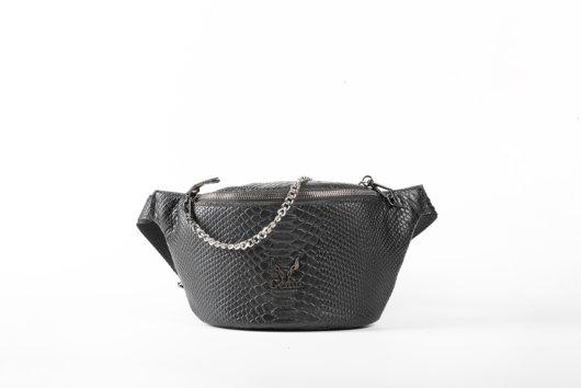 PYTHON EFFECT BELT BAG IN BLACK
