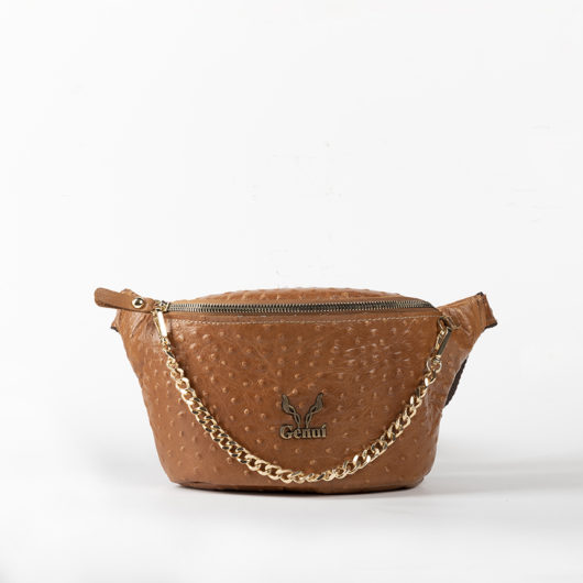 OSTRICH EFFECT BELT BAG IN TAN