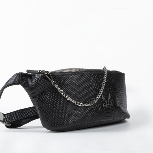 "PYTHON EFFECT BELT BAG IN BLACK ""LARGE"""