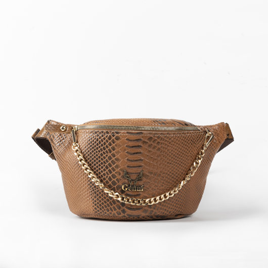 PYTHON EFFECT BELT BAG IN TAN