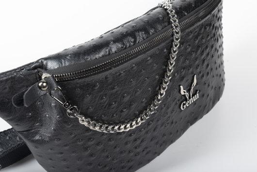 OSTRICH EFFECT BELT BAG IN BLACK