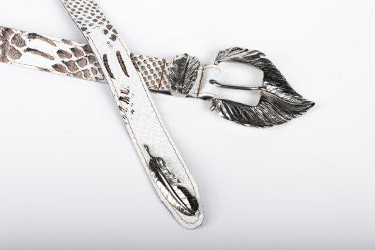 Δερματινη Ζωνη λευκη με nickel μεταλλικη αγκραφα (φύλλο)