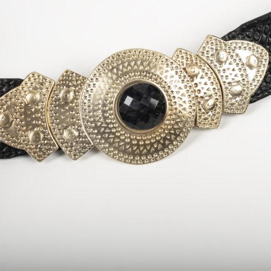 Δερματινη Ζωνη Μαυρη με παραδοσιακη αγκραφα σκαλιστη και χαντρα